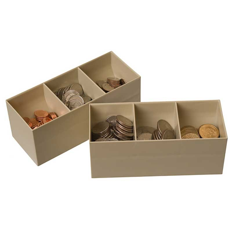Clear money tray 17 1 2w x 3h x 17 1 2d for 4 compartment piggy bank